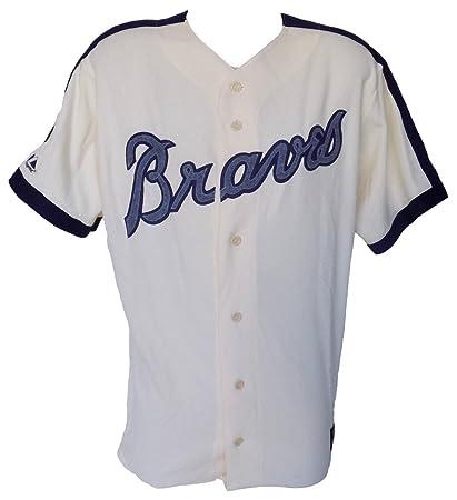 sale retailer c5877 c7d11 Atlanta Braves Majestic Cooperstown Collection Cream Jersey ...