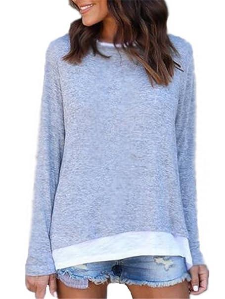 BESTHOO Camisa Mujer Relajado Camisetas Moda De Manga Larga T Shirt Blusa De Elegante Casual Tunicas