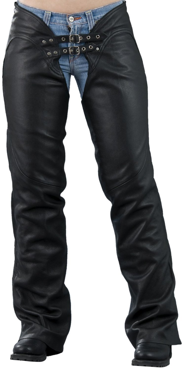 Milwaukee Womens Low Rise Double Buckle Leather Chaps Black, X-Large