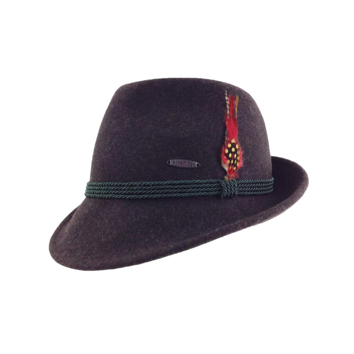 969bba8c4 Austrian & German Style Alpine Tyrolean Wool Hat With Feather & Rope by EHG
