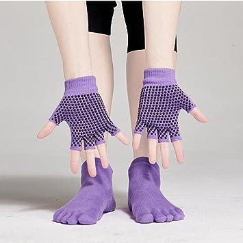 Pixnor Calcetines de yoga y Yoga juegos de guantes con puntos de silicona (púrpura)