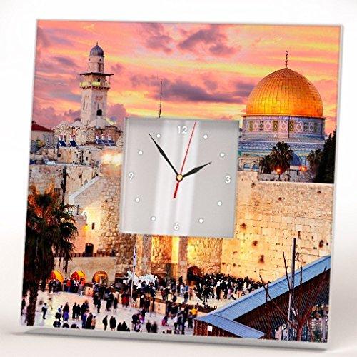 (Jerusalem Western Wailing Wall Clock Mirror Framed Kotel Israel Printed Art Home Room Decor)