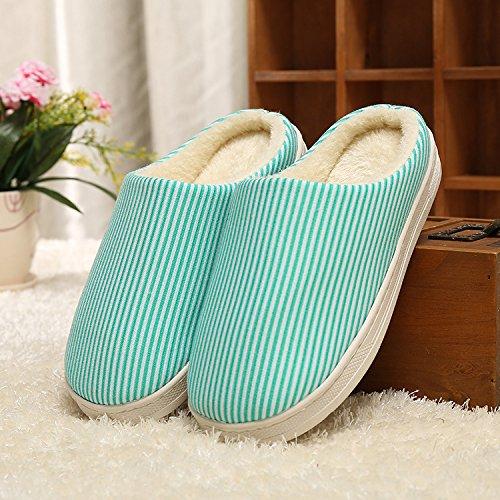Y-Hui hogar cálido zapatillas de algodón, los amantes de invierno cálido color sólido inferior grueso algodón Inicio zapatillas,38/39,Verde Código