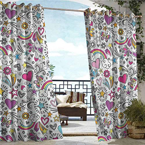 Outdoor Privacy Curtain for Pergola Doodle,Back to School Theme Sketch,W84 xL96 Thermal Insulated Water Repellent Drape for Balcony