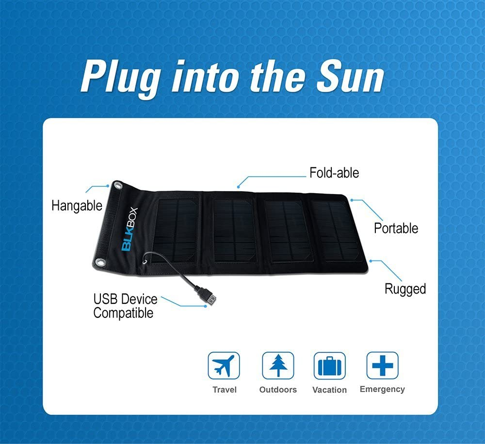 BLKBOX Portable Solar Charger 7W Portable Folding Solar Kit Solar Charges iPads, iPhones, Tablets, Phones or Anything with a USB Connection