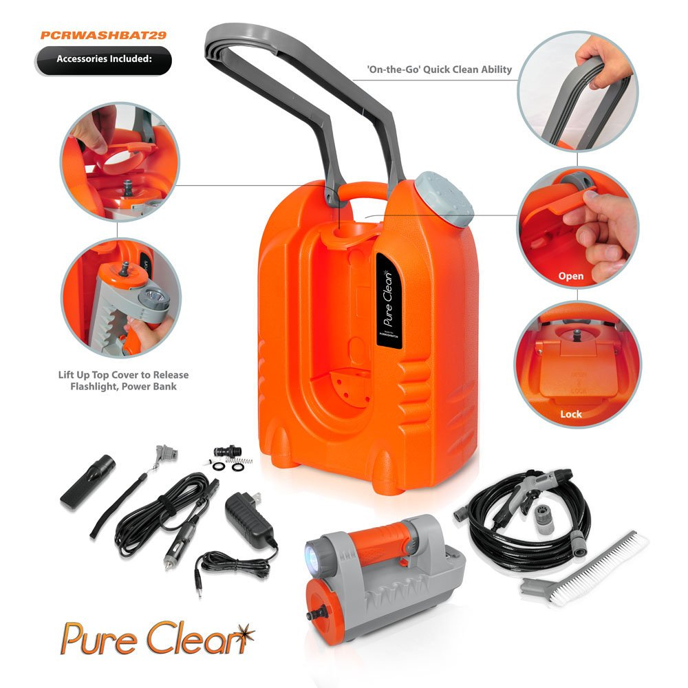 Pure Clean PCRWASHBAT29 portable spray washer W/ Flash Light - Power bank - Carrying Wheels by Pure Clean (Image #4)