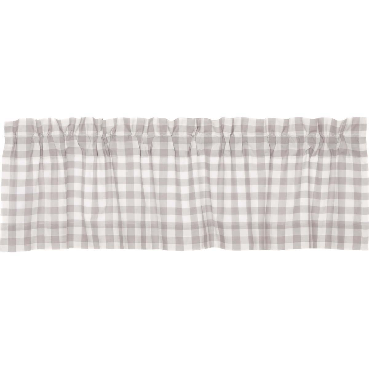 """VHC Brands Farmhouse Kitchen Window Curtains - Annie Buffalo Check White Lined Valance 16"""" x 60"""" Grey"""
