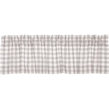 VHC Brands Farmhouse Kitchen Window Curtains - Annie Buffalo Check White Lined Valance, 16  x 60 , Grey