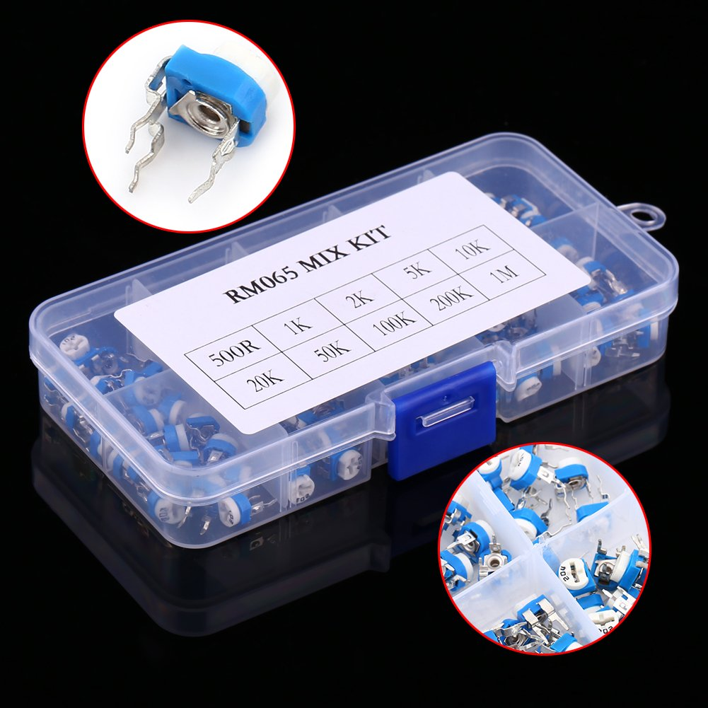Walfront 10Values 500 ohm to 1M ohm Carbon Film Horizontal Trimpot Pot Potentiometer Assortment Kit Variable Resistor with Plastic Box