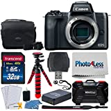 """Canon EOS M50 24.1MP Mirrorless Digital Camera Body – 4K & HD Video + 32GB Memory Card + Camera/Camcorder Bag + 12"""" Flexible Tripod + Battery Replacement + USB Card Reader – Complete Accessory Bundle"""