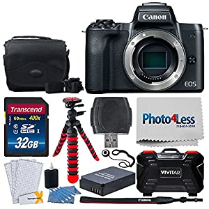 "Canon EOS M50 24.1MP Mirrorless Digital Camera Body – 4K & HD Video + 32GB Memory Card + Camera/Camcorder Bag + 12"" Flexible Tripod + Battery Replacement + USB Card Reader – Complete Accessory Bundle"