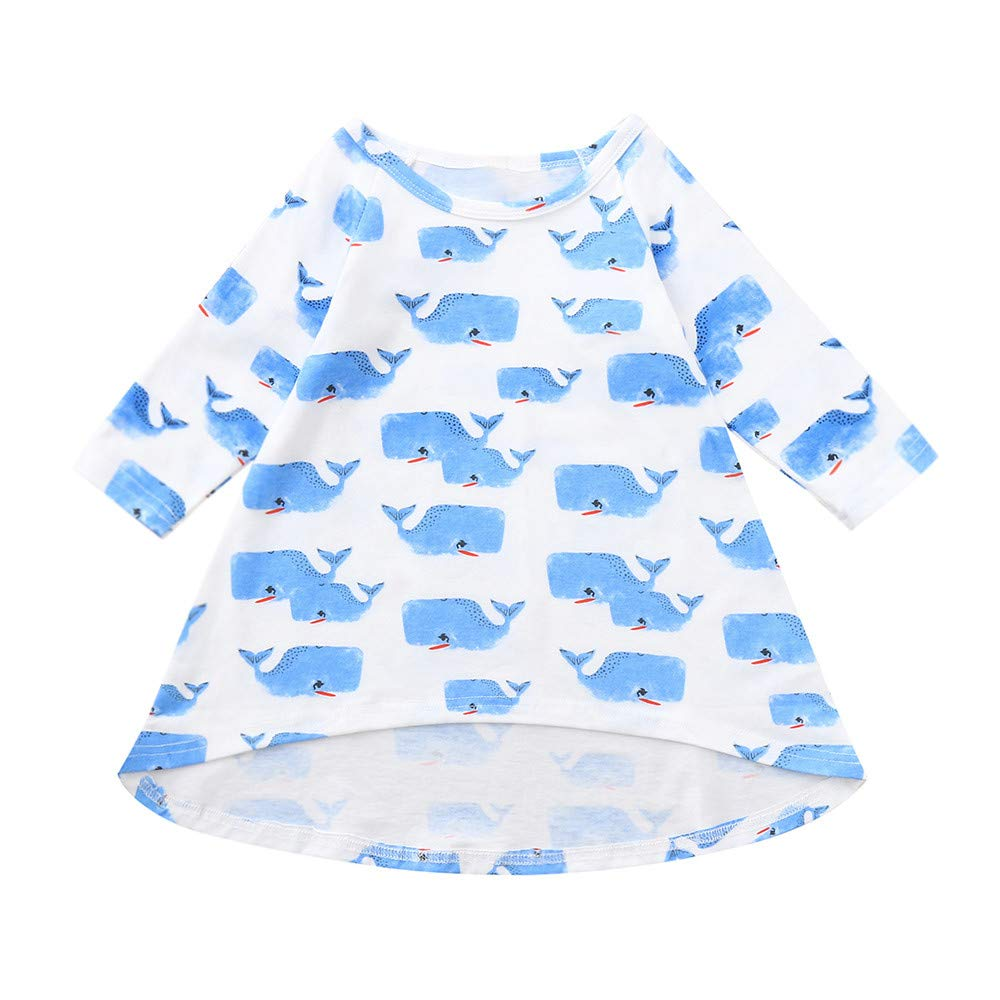 Newborn Infant Kids Baby Girls Cartoon Whale Print Dresses Outfits Dream Room Dresses