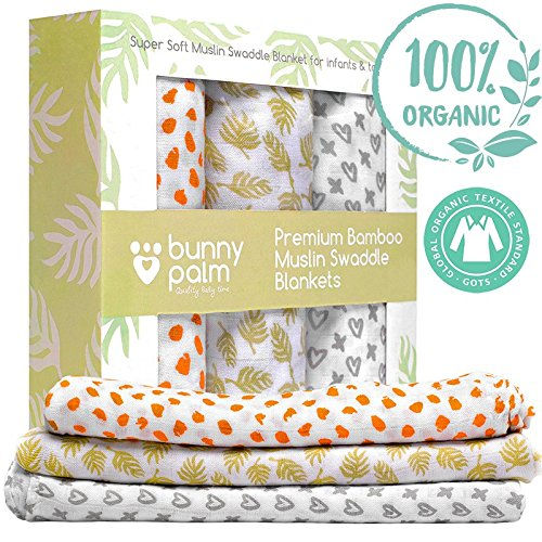 Modern Bunny (Swaddle Blanket - Newborn baby Organic bamboo Muslin swaddle blanket set of 3 by Bunny Palm - Soft Receiving Blanket - Large - Unisex Infant Toddlers Newborn Boy and Girls - 47 x 47 inch - Baby Shower)