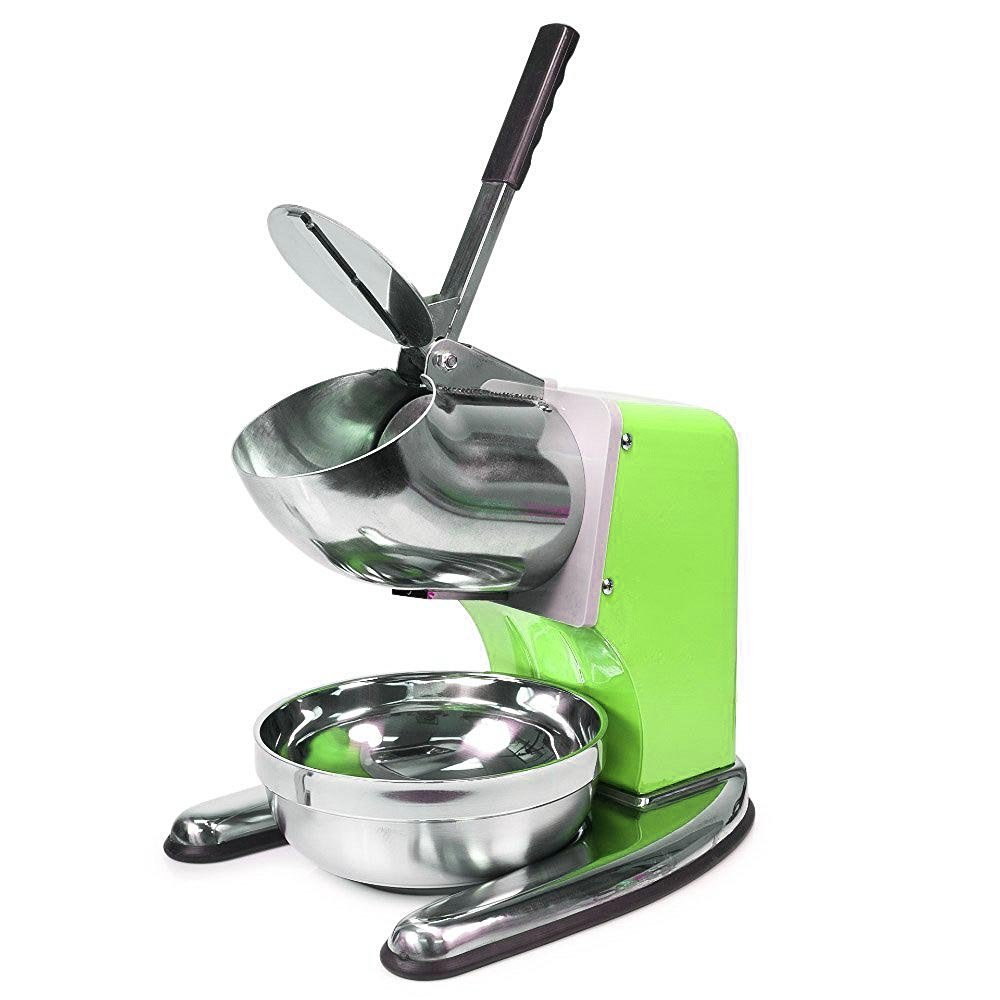 WYZworks Green Commercial Ice Shaver Dual Blade 143lb/h Crusher Shaved Icee Maker Machine