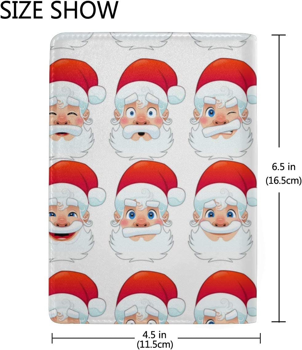 Popular And Flattering Santa Claus Leather Passport Holder Cover Case Blocking Travel Wallet