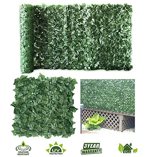 (Petgrow Artificial Hedge Ivy Fence Privacy Screen, Faux Foliage Leaf Privacy Outdoor Boxwood Ivy,DIY Decorations for Fence Garden Backdrop,39 X 118 Inch)