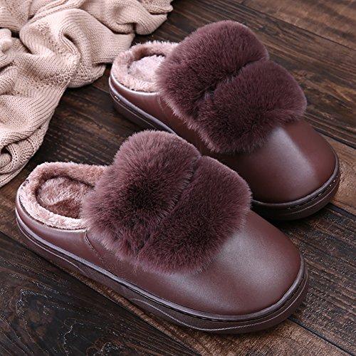ICEGREY Herren Warme Hausschuhe Plüsch Kunstpelz Soft Sole Wärmehausschuhe Indoor Pantoffeln für Paare Kaffee 42 43