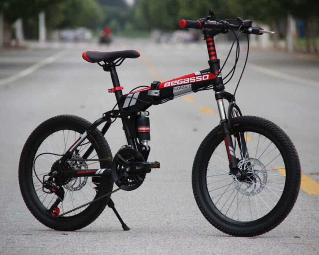 Hycy Voll Gedämpft Mountainbike 20-Zoll-Scheibenbremsen Mountainbike Falten EIN Rad Wechselnden Fahrrad,Grün schwarz
