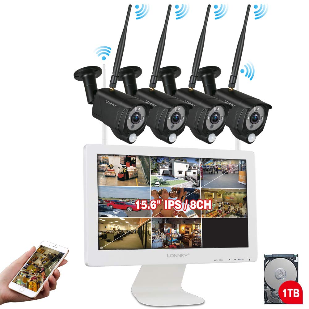 All-in-One LONNKY FHD 1080P Security Camera Wi-Fi System, Wireless 8CH NVR with 15.6'' LCD Monitor,1TB HDD and 4PCS 2.0 MP Waterproof Outdoor Indoor Cameras with Audio Recording, PIR Sensor