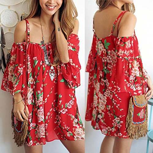 TOPUNDER Women Chiffon Boho Flower Loose Tops Off Shoulder Sexy T-Shirt Blouse at Amazon Womens Clothing store: