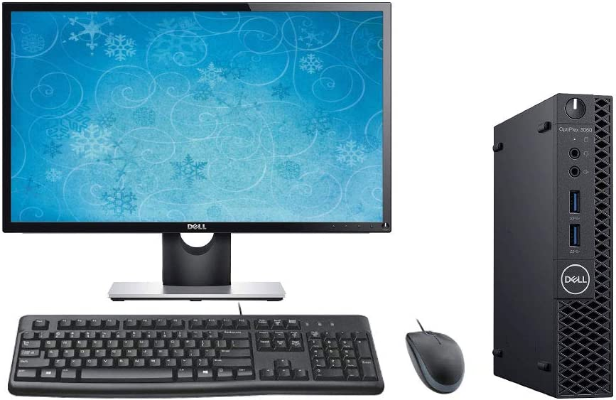 "Dell Optiplex 3060 Micro Form Factor PC Desktop Bundle, 24"" Display, Keyboard, Mouse, Intel i5-8500T 2.1GHz, 8GB RAM, 500GB HDD, Windows 10 Pro"