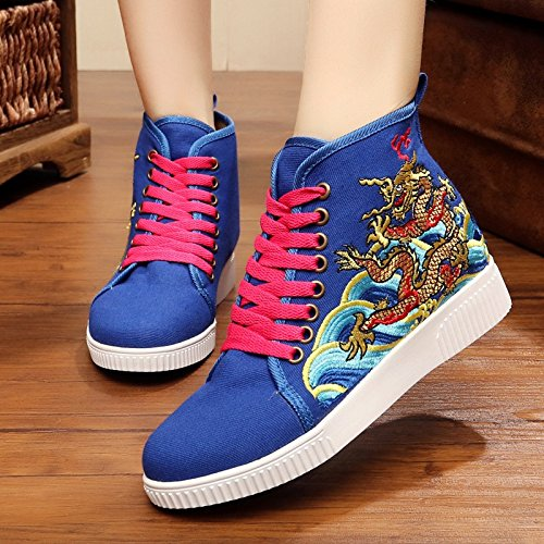 shoes leisure canvas Women's Sapphire Embroidered 50nwpf
