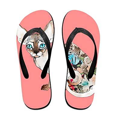 78605d073 Amazon.com  Creative Canada Cat Unisex Comfortable Beach Flip Flops ...
