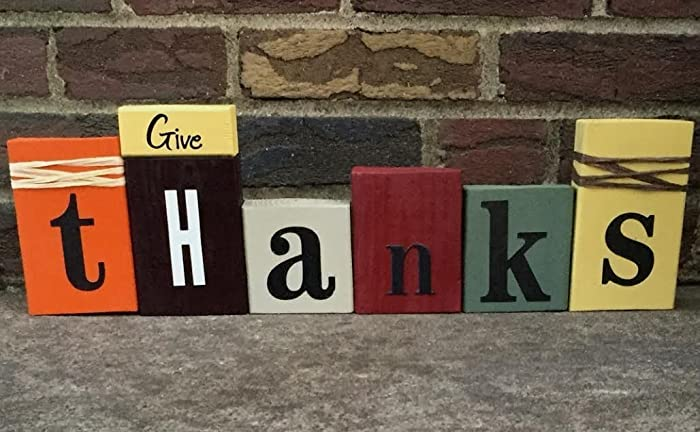 Amazon Com Give Thanks Wooden Word Blocks For