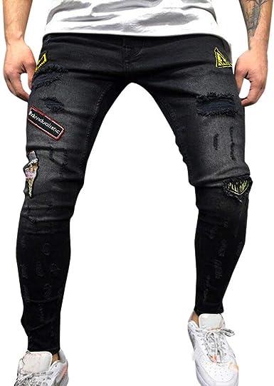 Lanskirt Pantalones Vaqueros Rotos Hombre Jeans Cosidos Con Cremallera Pantalones Ajustado Elasticos Pantalon Hombres Slim Fit Ropa De Trabajo Otono Invierno S 3xl Amazon Es Ropa Y Accesorios