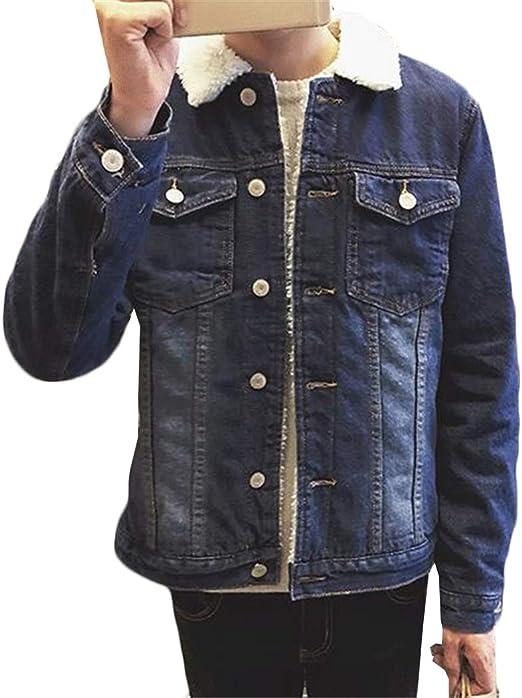 (スーイ)ボアデニムジャケット メンズ 裏ボア ジージャン 厚手 防寒 コート Gジャン 折り襟 アウター ブルゾン 防寒 ジーンズ ファッション カッコイイ カジュアル ゆったり デザイン 通学 旅行