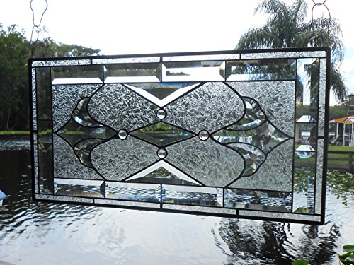 Stained Glass Panel, Beveled Glass Traditional Window Transom, Vintage Look Stained Glass Window Valance, Original Glass Window (Stained Glass Transom)
