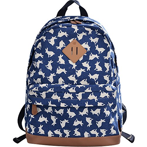 (DGY Womens Rabbit Pattern Design Korean Fashion Casual Preppy Style Backpack G00133 Marine Blue)