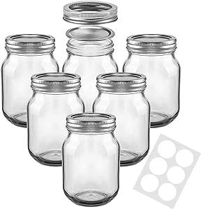 Mason Jars, SKOCHE 16 oz Canning Jars Glass Jars with Regular Lids, Ideal for Jam, Honey, Wedding Favors, Shower Favors, Baby Foods, DIY Magnetic Spice Jars, 6 PACK Jelly Jars, Extra 6 Labels