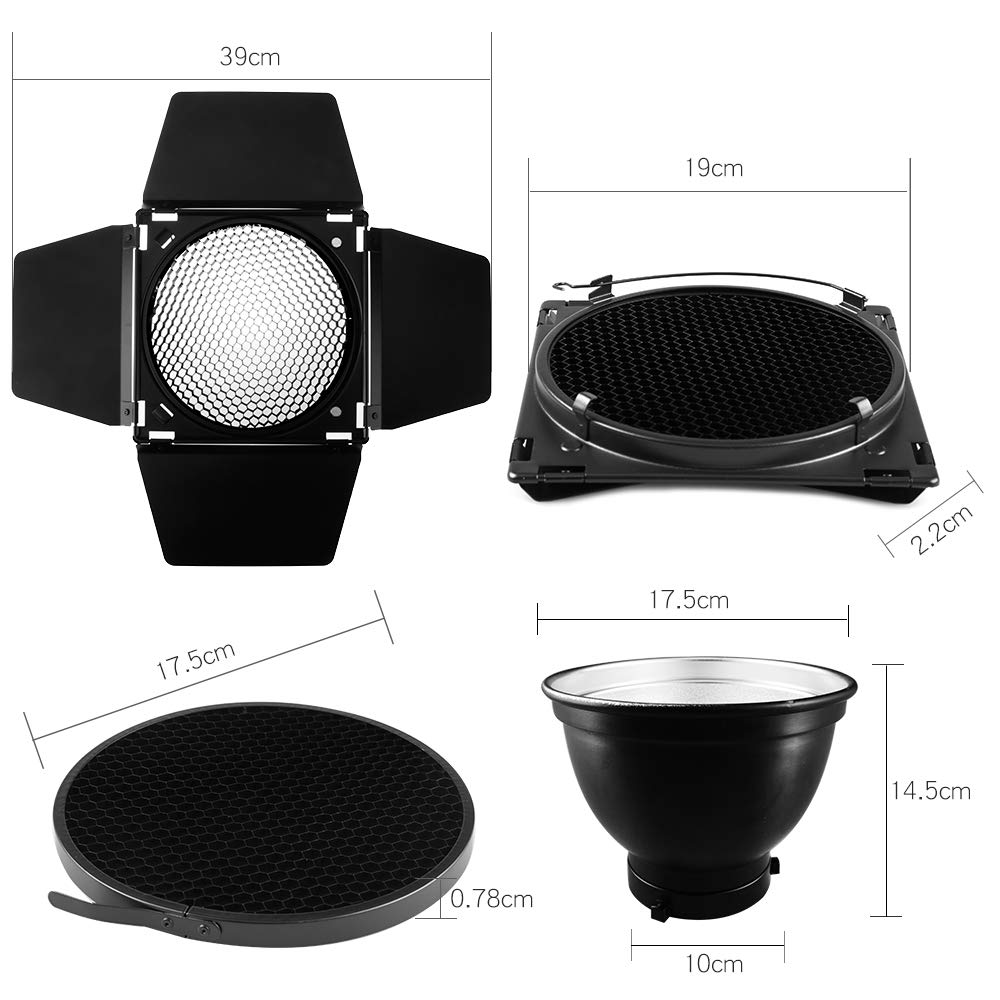 Ultrapure BD-04 Barn Door Honeycomb Grid 4 Color Filter + Bowens Mount Reflector for Studio Flash by Ultrapure (Image #2)