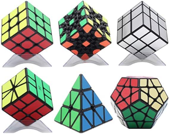 JIAAE Cubo de la Velocidad, 3D Profesional Partido Mágico Puzzle 3X3 / Pirámide/inclinación Vuelta/Engranajes/Espejo/ABS rápido y Suave diversión descompresión de Regalo (6 Pack): Amazon.es: Hogar