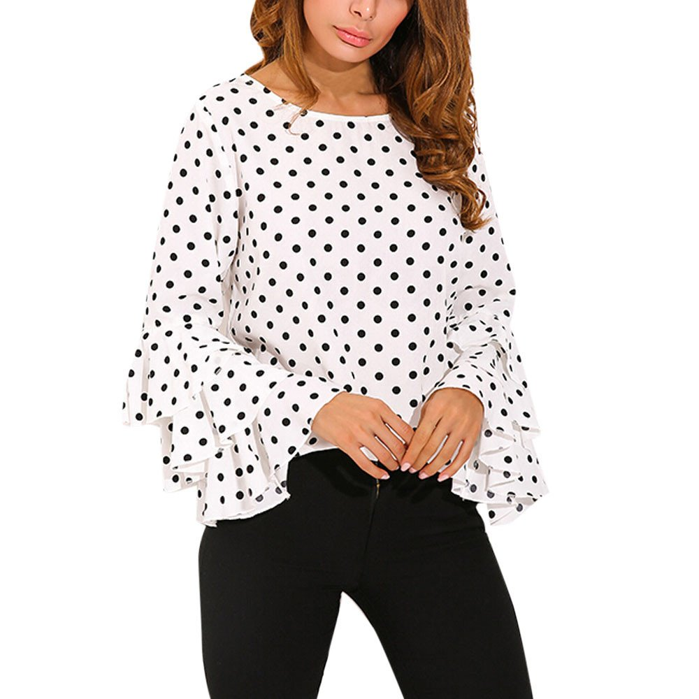 Clearance Sale! Wobuoke Fashion Women's Bell Sleeve Crew Neck Loose Polka Dot Shirt Ladies Casual Blouse Tops