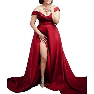 Off The Shoulder Prom Dresses Burgundy Evening Dress with Split Side (16W)