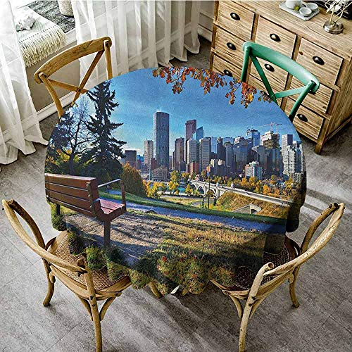 Suchashome Jacquard Tablecloth City Park Bench Overlooking The Skyline of Calgary Alberta During Autumn Tranquil Urban Multicolor Restaurant Round Tablecloth Diameter 36