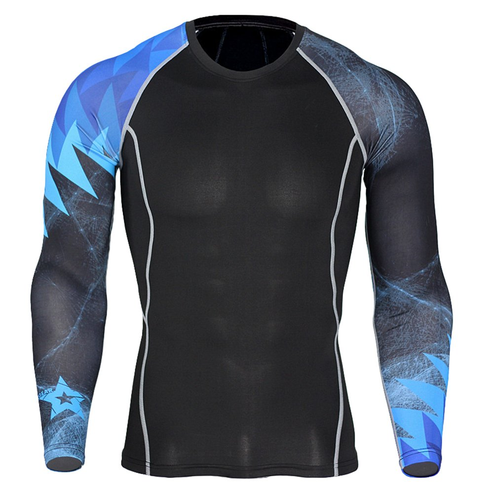 YiJee Mens Sports Running T-Shirt Compression T-Shirts Long Sleeves Fitness Base Layer Tops