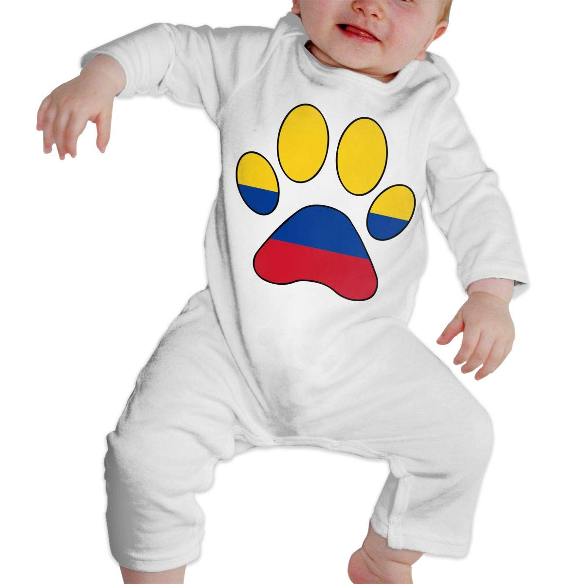 Infant Babys Cotton Long Sleeve Colombia Flag Dog Paw Baby Clothes Funny Printed Romper Clothes