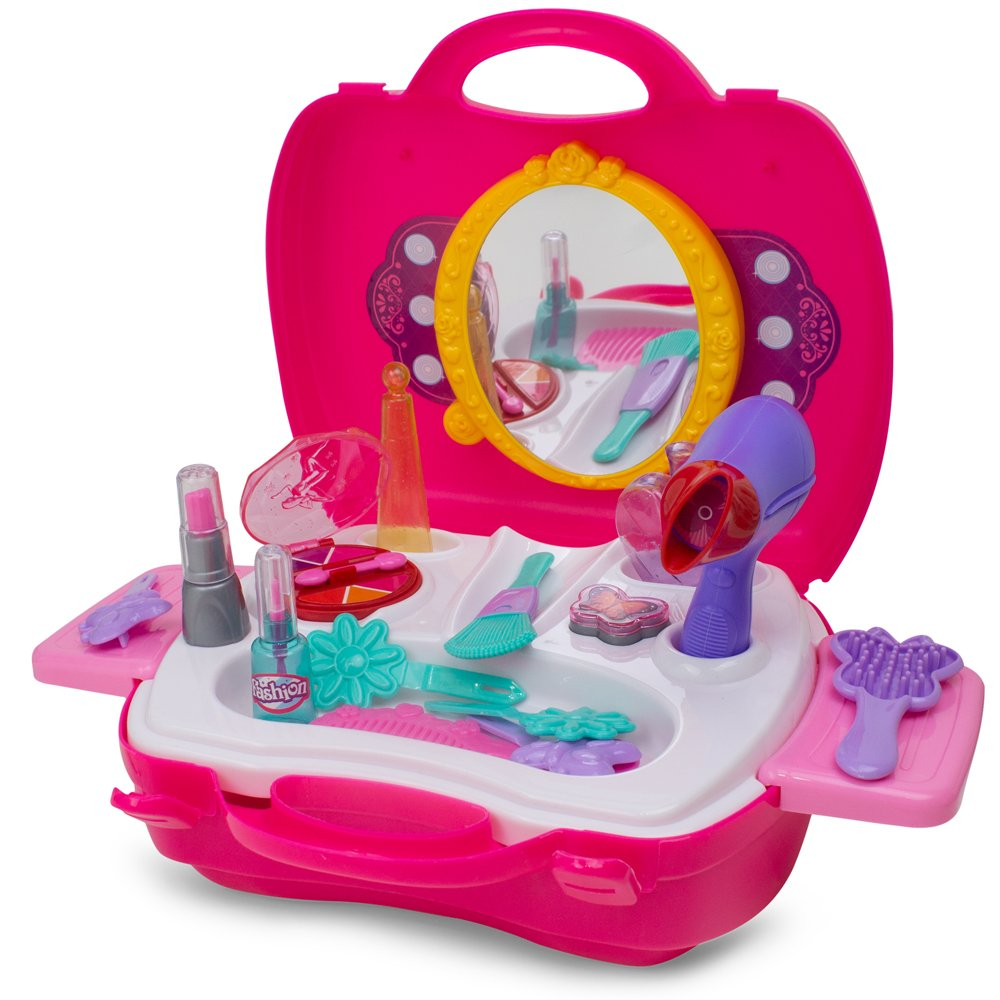 Little Girls Make Up Case and Cosmetic Set - Pretend Play Kids Beauty Salon