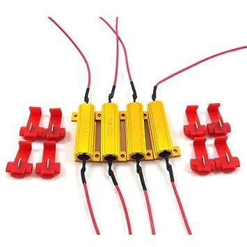 Resistencias de carga para bombillas LED (4 unidades, 50 W, 6 ohm): Amazon.es: Coche y moto