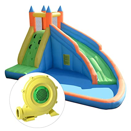 Costzon Inflatable Slide Bouncer, Water Pool with Long Slide, Climbing  Wall, Including Oxford Carry Bag, Repairing Kit, Stakes, Hose, Castle  Bounce