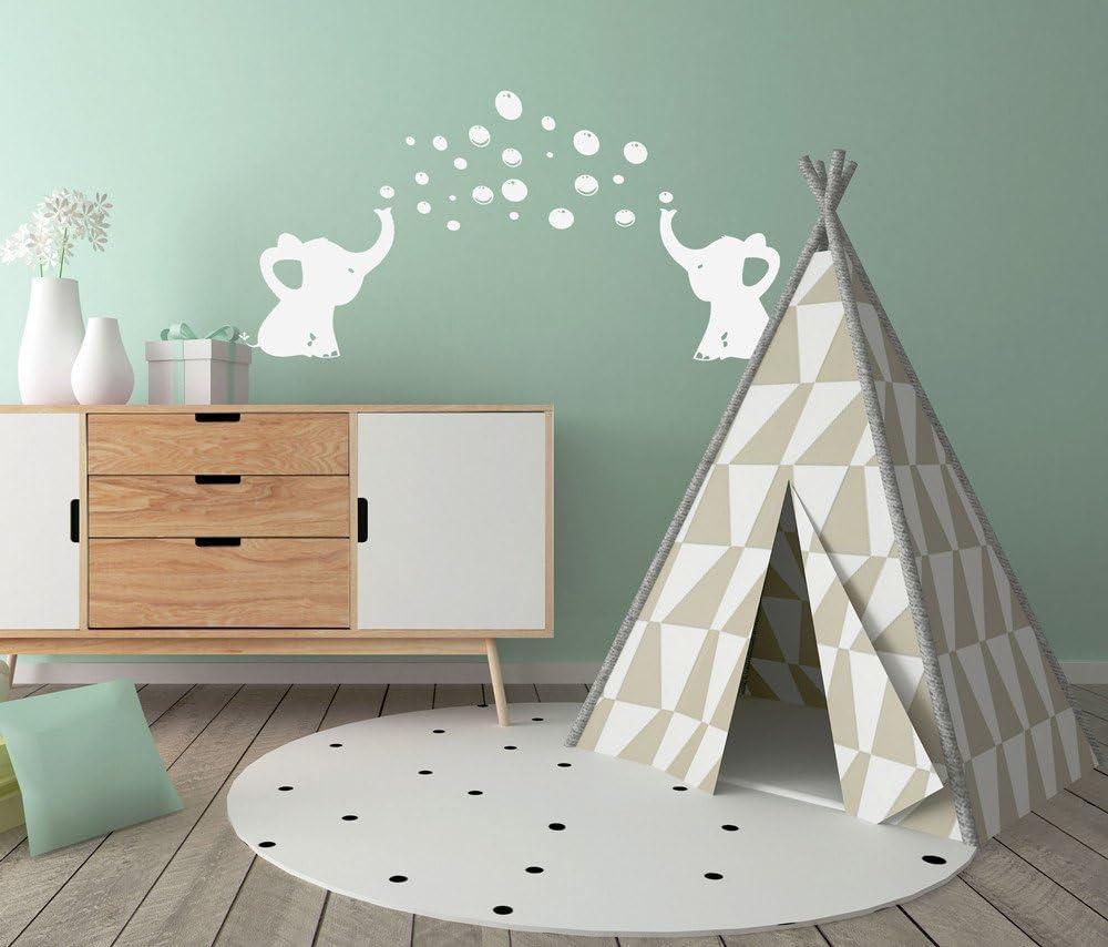 blanco BDECOLL elefante burbujas guarder/ía pared vinilo habitaci/ón de los ni/ños soplando burbujas vinilo adhesivo decorativo para pared para la habitaci/ón del beb/é Decor