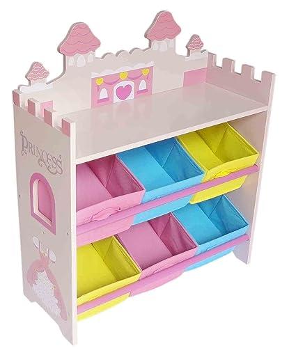 Kiddi Style Cajas Almacenaje Juguetes Castillo de Princesas – 6 Contenedores - Madera - para niños
