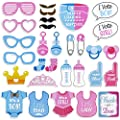 Tinksky Girls Boys Baby Shower Birthday Party Gender Reveal Photo Booth Props on Sticks Set Decorations for Party Favors 30 -pack by Tinksky