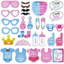 Tinksky Girls Boys Baby Shower Birthday Party Gender Reveal Photo Booth Props on Sticks Set Decorations for Party Favors 30 -pack