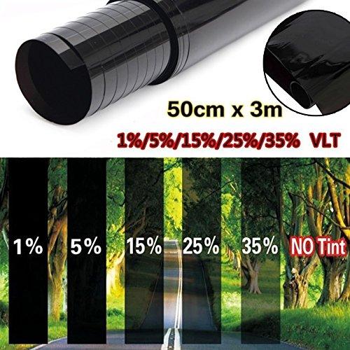 RenxinU Coche Anti UV Resistente a los ara/ñazos Ventana Protector Tinte Negro Kit Rodillo VLT 50/cm x 3/m L/ámina para Ventanas Car Window Tint pel/ícula