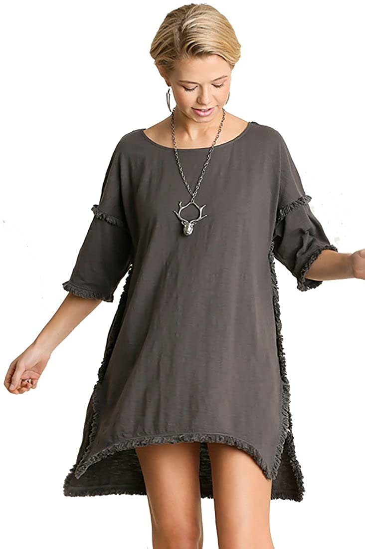 Charcoal Umgee Textured Knit Tunic with Fringe Accents