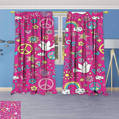 Lab Collection Star Shine (Philiphome Room Darkening Blackout Print Curtains –Collection Sunshine Birds Mushroom Acoustic Shooting Star Creative Design Magenta Pink Yellow Blue for Bedroom Living Room)